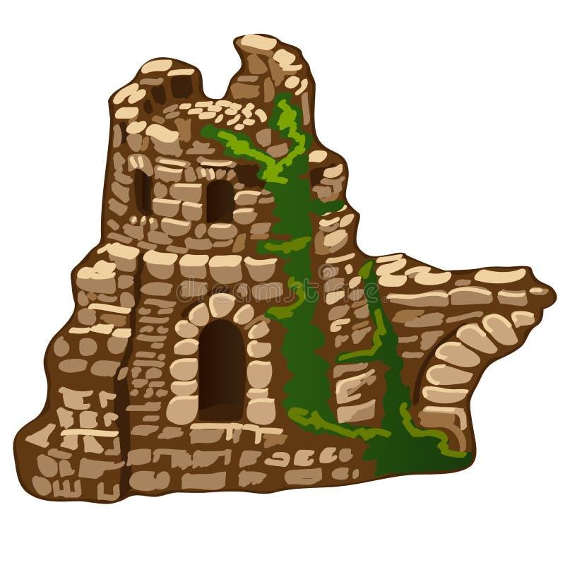 Las ruinas abandonadas de una casa o de una fortaleza de piedra vieja aislada en el fondo blanco Los restos de la arquitectura me stock de ilustración