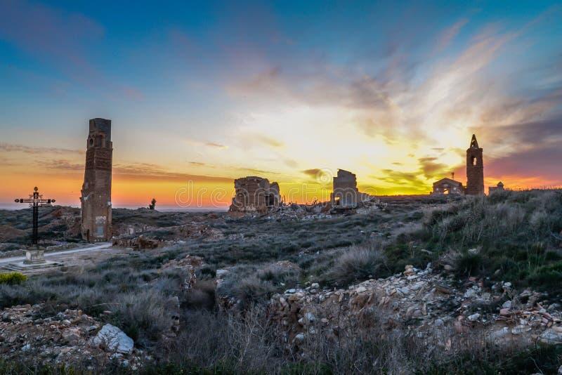 Las ruinas de Belchite - España imagen de archivo