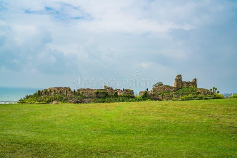 Las ruinas de Hastings se escudan, Sussex del este, Reino Unido imagen de archivo