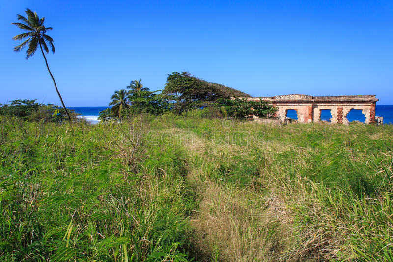 Las Ruinas de la Base Ramey in Aguadilla. Is a historic landmark with a beautiful view of the ocean. Originally it was a lighthouse built in the late 19th royalty free stock images