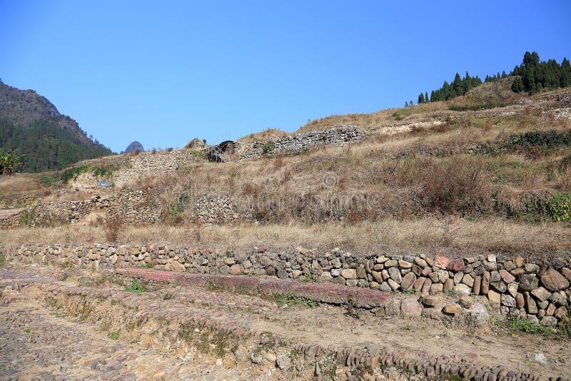 Las ruinas de la ciudad del cacique de Tujia en China fotografía de archivo libre de regalías