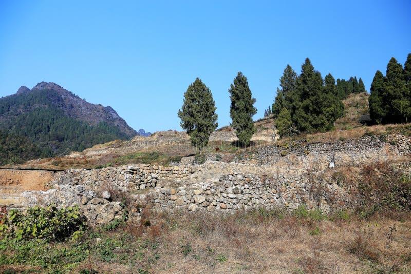 Las ruinas de la ciudad del cacique de Tujia en China imagen de archivo libre de regalías