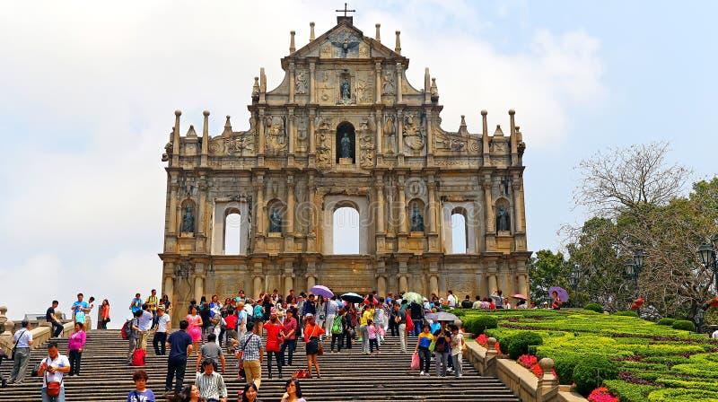 Las ruinas de la iglesia de San Pablo, Macao fotografía de archivo