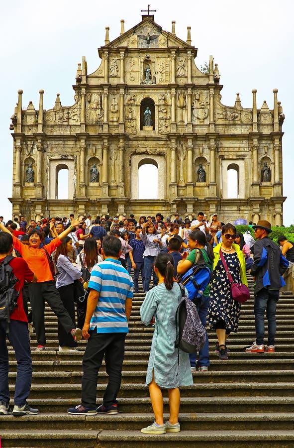 Las ruinas de los pauls del st en Macao imagen de archivo
