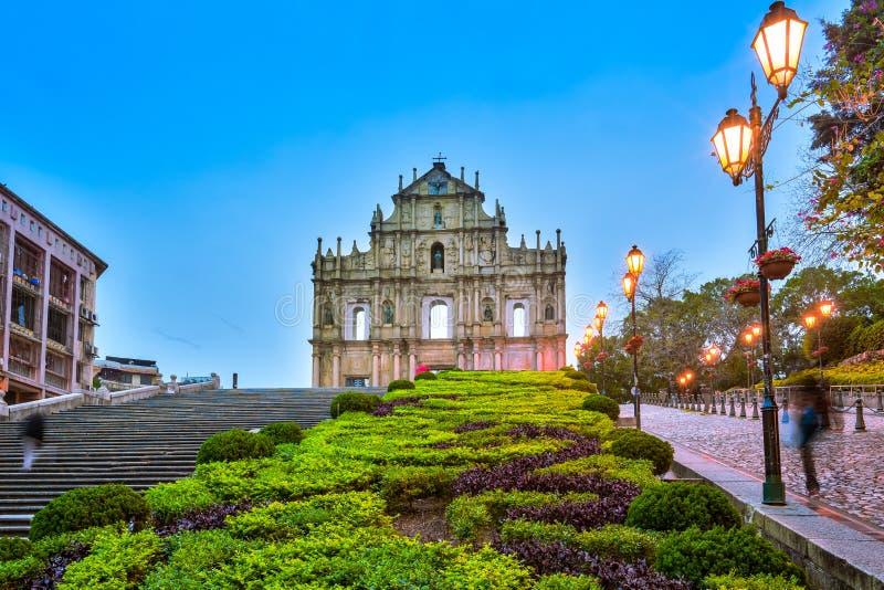 Las ruinas de San Pablo y de x27; s en Macao imagenes de archivo