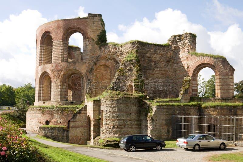 Las ruinas de thermae imperiales en el Trier, Alemania imagen de archivo