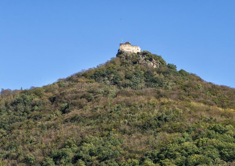 Las ruinas del castillo de Aggstein, banco del sur Danubio en Wachau, Austria imagen de archivo libre de regalías