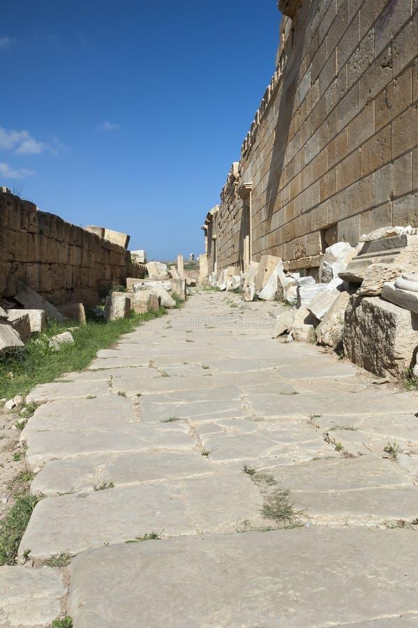 Las ruinas del magna de los leptis fotografía de archivo