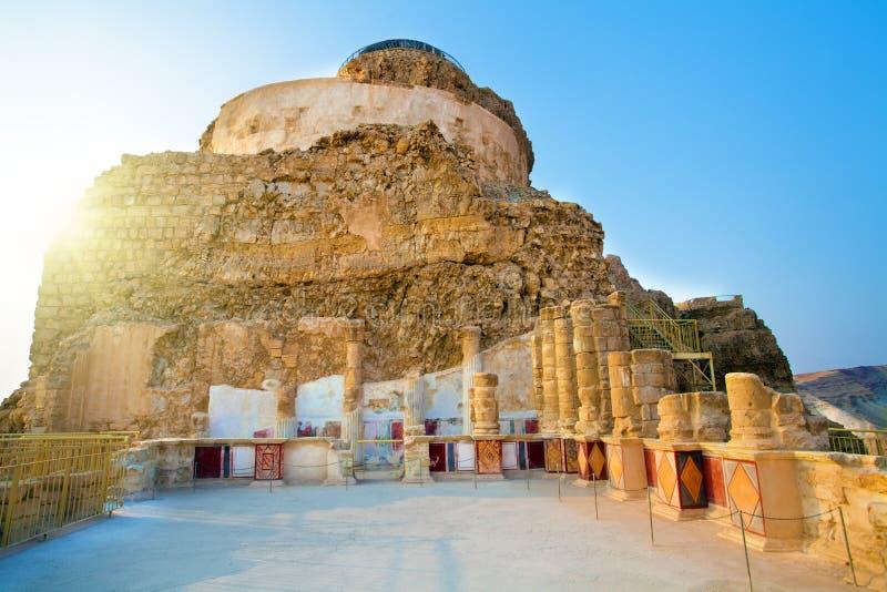 Las ruinas del palacio de Masada de rey Herod imagen de archivo libre de regalías