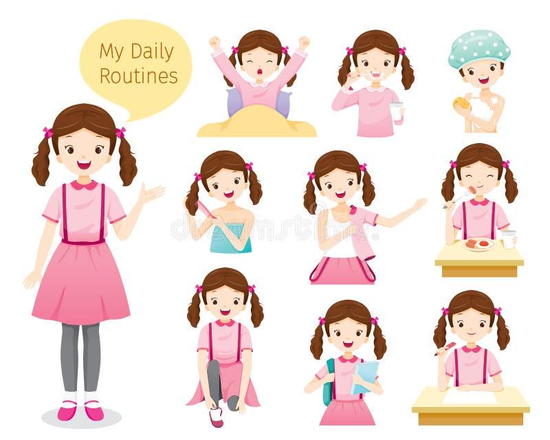 Las rutinas diarias de la muchacha ilustración del vector