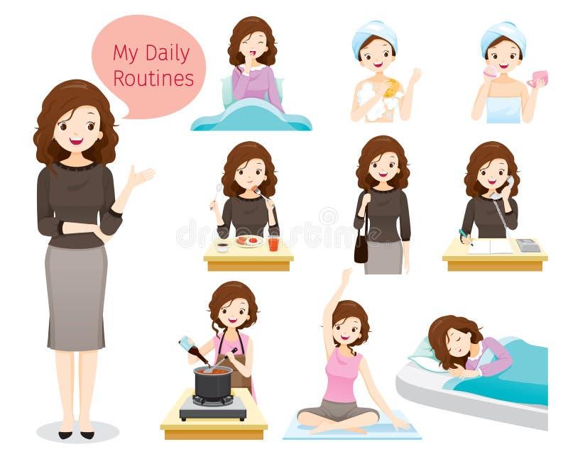 Las rutinas diarias de la mujer stock de ilustración