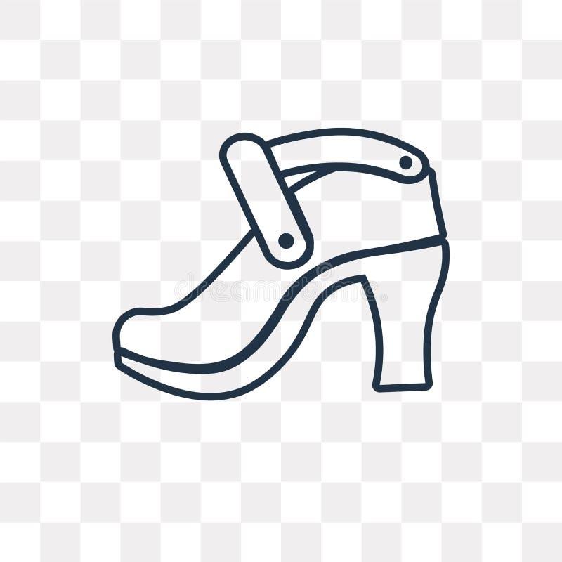 Las sandalias de la plataforma vector el icono aislado en fondo transparente, ilustración del vector