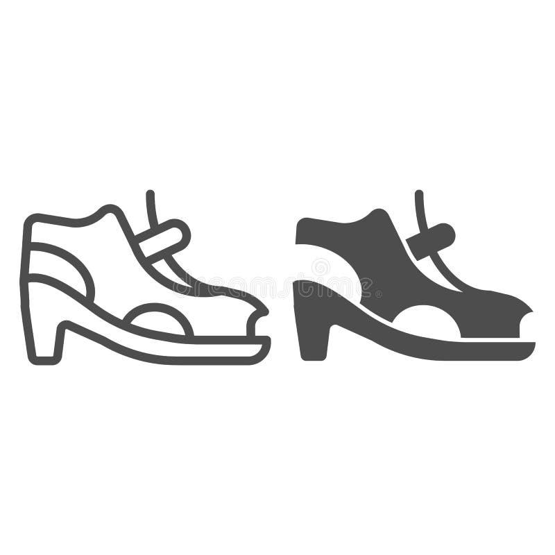 Las sandalias de tacón alto alinean y el icono del glyph Zapatos de la mujer con el ejemplo del vector del corchete aislado en bl libre illustration