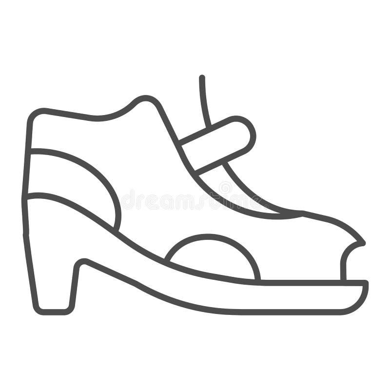 Las sandalias de tacón alto enrarecen la línea icono Zapatos de la mujer con el ejemplo del vector del corchete aislado en blanco stock de ilustración