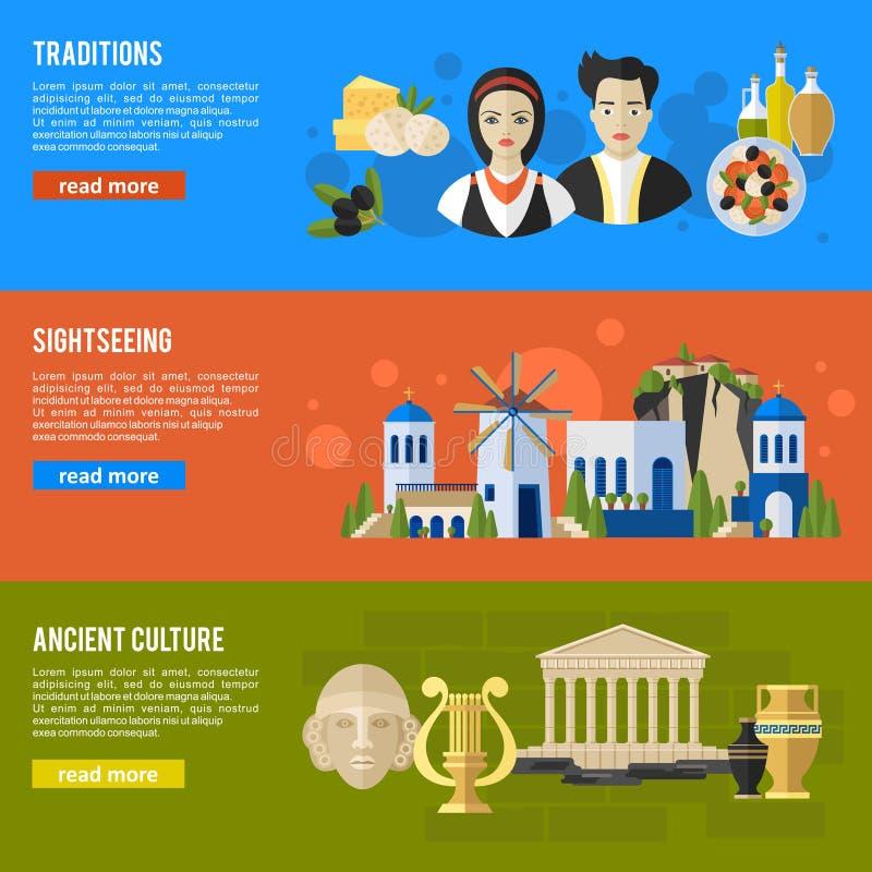 Las señales de Grecia y las banderas planas de las características culturales diseñan el sistema stock de ilustración