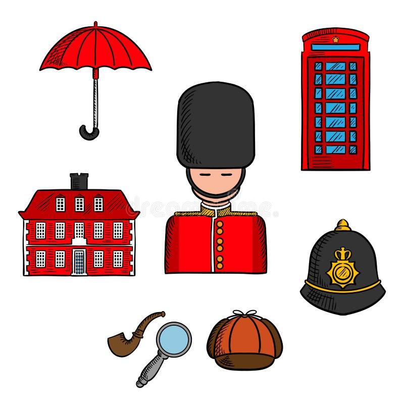 Las señales del viaje de Londres colorearon bosquejo ilustración del vector