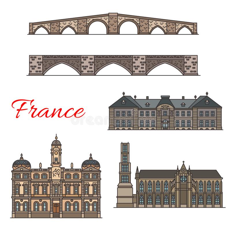 Las señales del viaje del francés enrarecen la línea iconos libre illustration