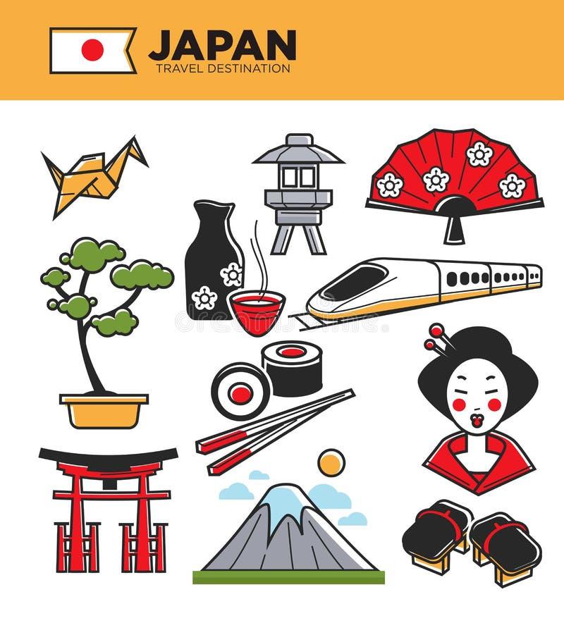 Las señales famosas del viaje de Japón y las atracciones turísticas tradicionales de la cultura japonesa vector iconos ilustración del vector