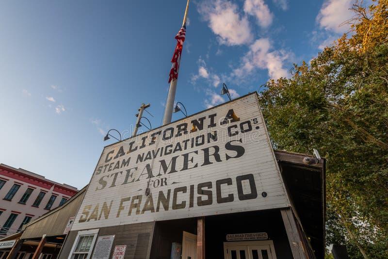 Las señales y los iconos de Sacramento del oeste foto de archivo