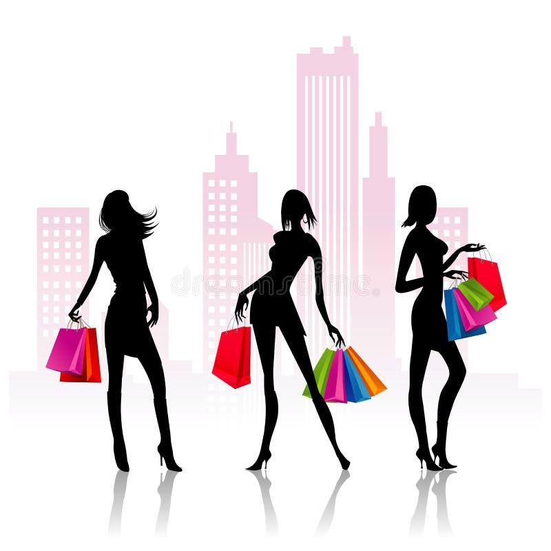 Las señoras van a hacer compras stock de ilustración