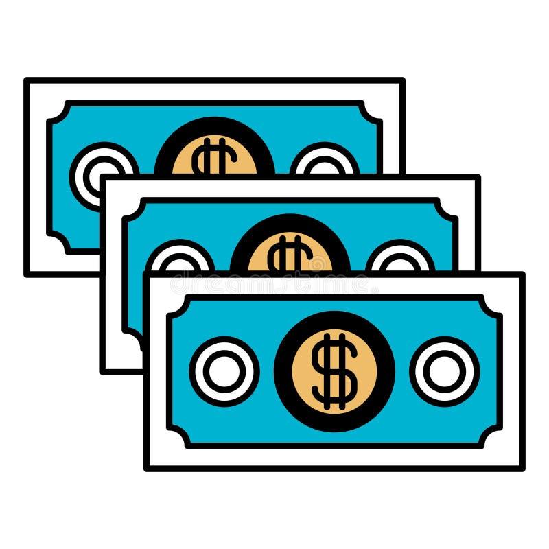 Las secciones del color siluetean de las cuentas de dinero fijadas stock de ilustración