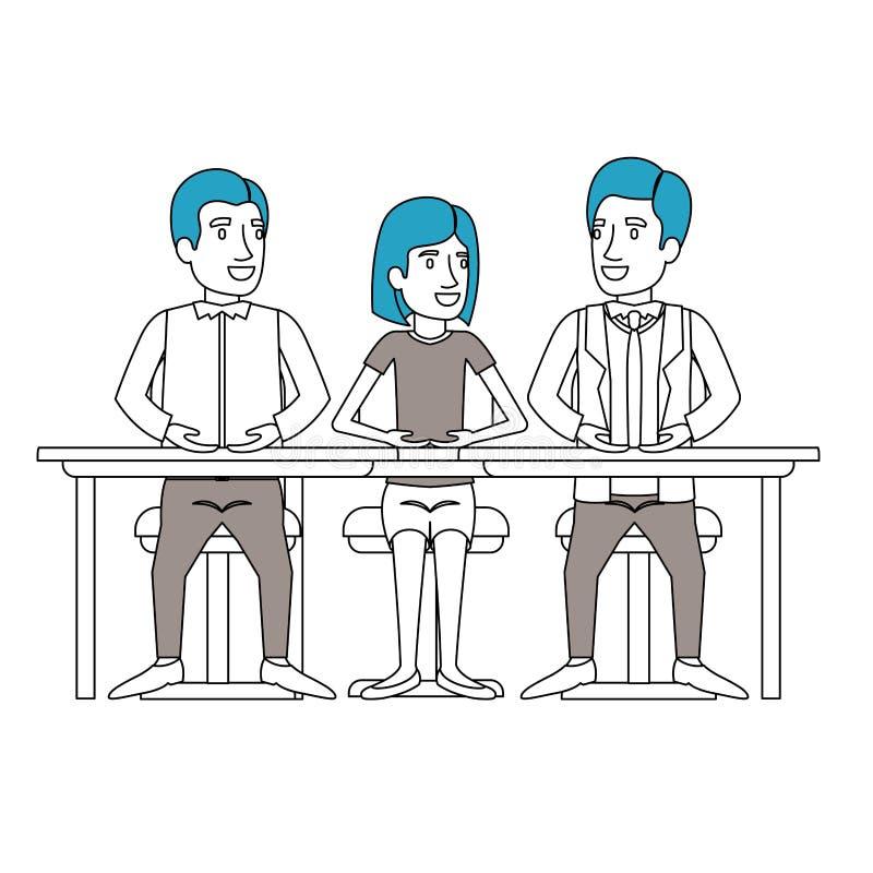 Las secciones del color siluetean del trabajo en equipo de la mujer y de los hombres que se sientan en escritorio ilustración del vector