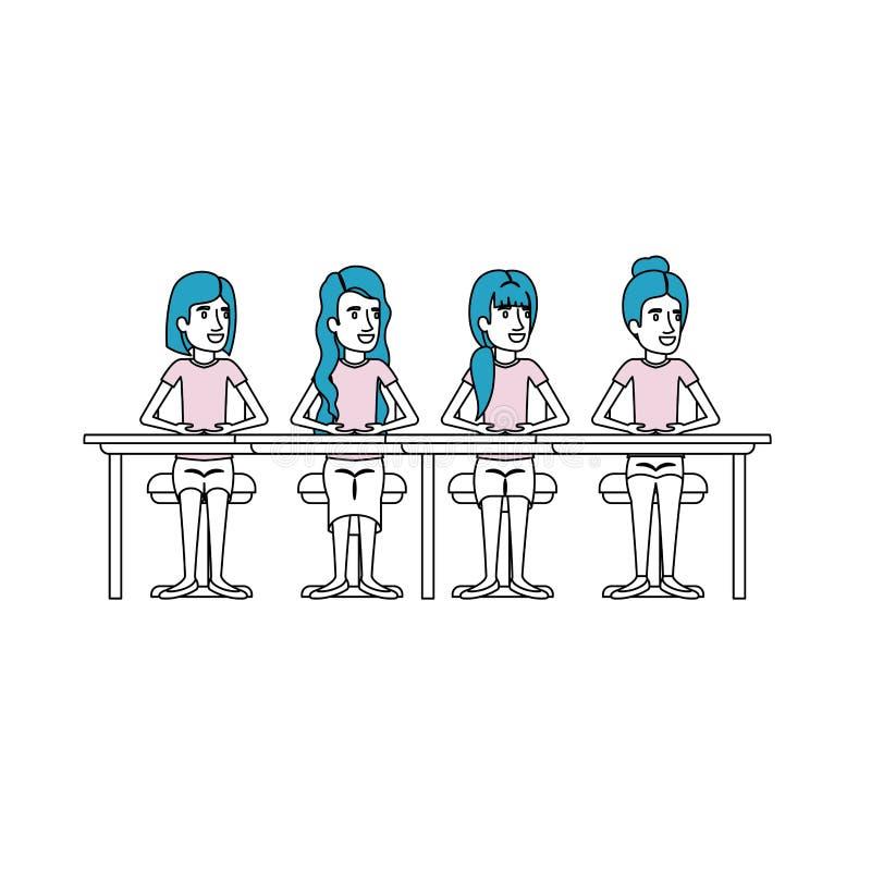 Las secciones del color siluetean del trabajo en equipo de las mujeres que se sientan en escritorio ilustración del vector