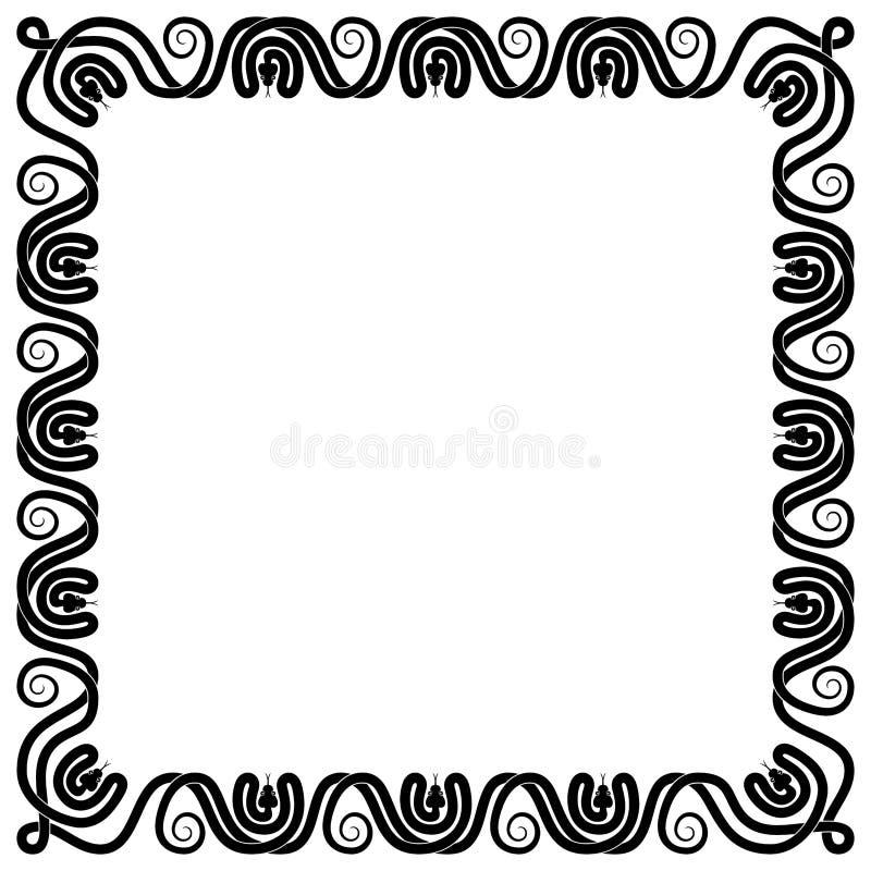 Las serpientes adornan el cuadrado del marco blanco y negro fotos de archivo