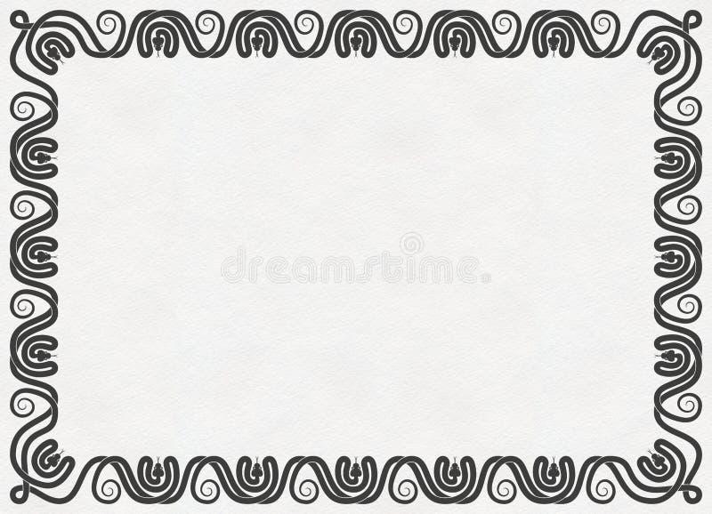 Las serpientes adornan el marco en la textura de papel imagenes de archivo