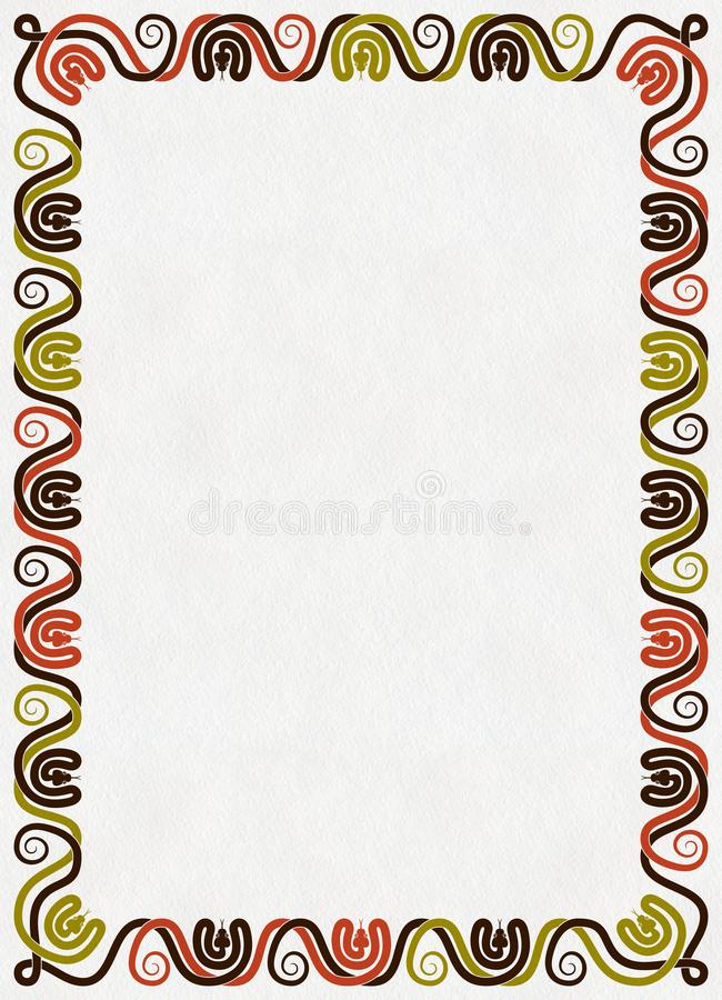 Las serpientes adornan el marco vertical en el papel fotos de archivo