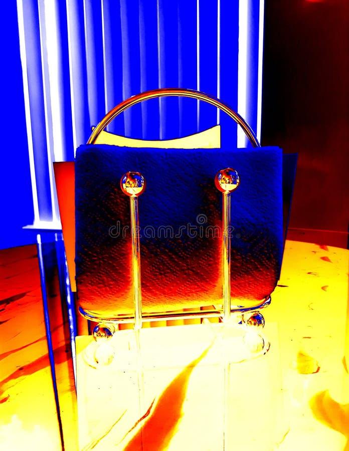 Las servilletas del efecto del diseño presentan el azul amarillo abstracto imagen de archivo libre de regalías