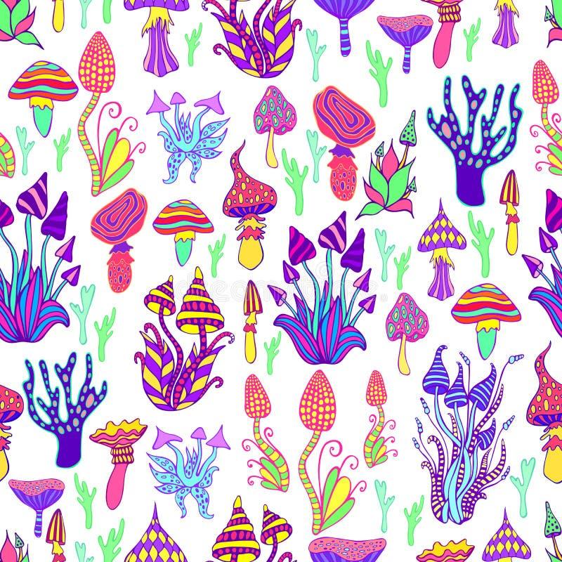 Las setas brillantes, alucin?genas, decorativas, fant?sticas, colores del arco iris, cada seta tienen su propio modelo psychedeli ilustración del vector