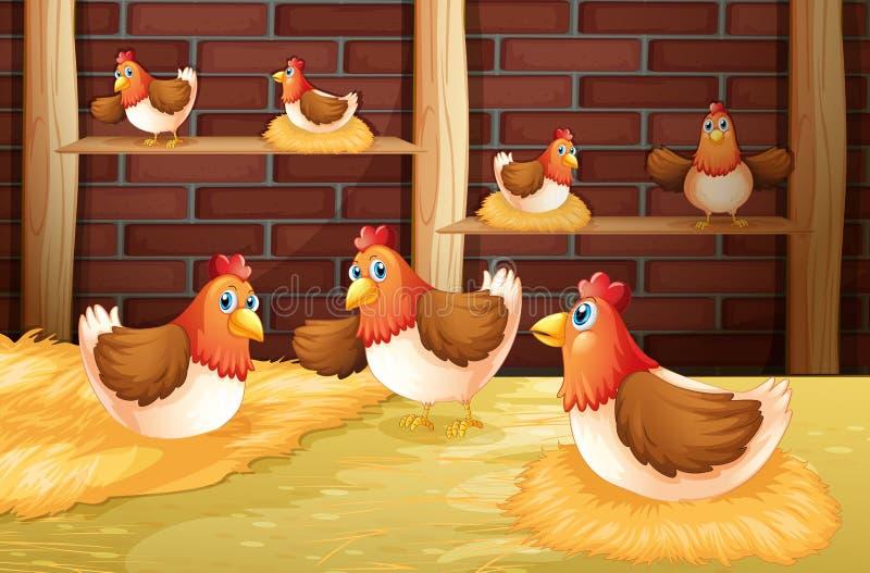 Las siete gallinas ilustración del vector