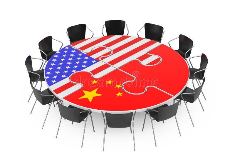 Las sillas alrededor de una tabla en rompecabezas forman y los E.E.U.U. y las banderas de China representaci?n 3d ilustración del vector