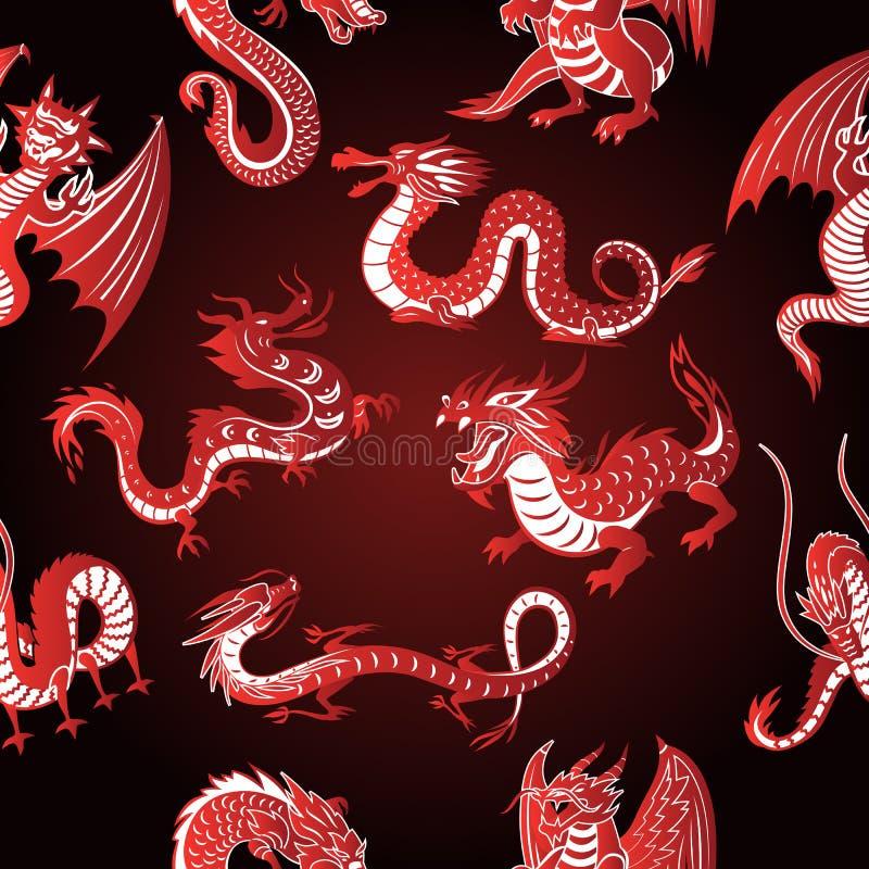 Las siluetas animales del dragón rojo de Asia del chino en el fondo blanco vector el fondo inconsútil del modelo ilustración del vector