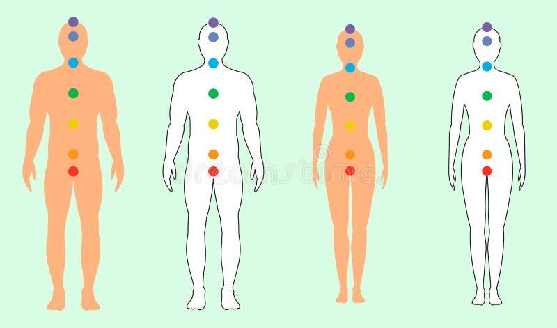 Las siluetas de hombres y de mujeres con siete colorearon puntos sagrados Ilustraci?n del vector ilustración del vector