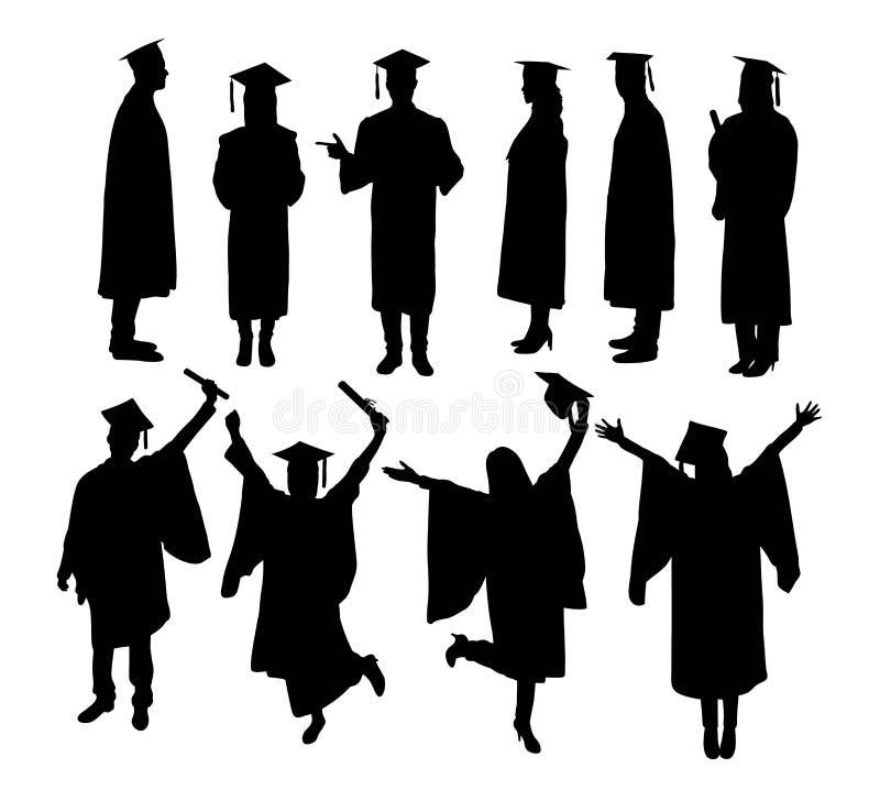 Las siluetas de la actividad de la graduación, la muestra y el vector felices del arte del símbolo diseñan stock de ilustración