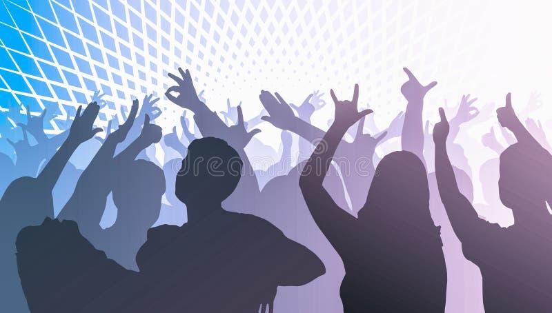 Las siluetas de la gente del baile delante de la etapa brillante se encienden libre illustration