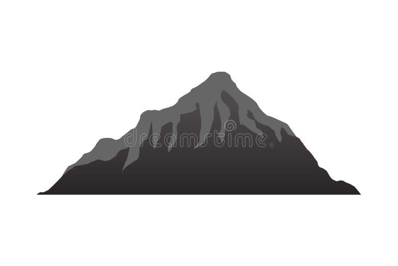 Las siluetas de la montaña pasan por alto Vector el vector rocoso del terreno de las colinas, sistema de la silueta de las montañ stock de ilustración