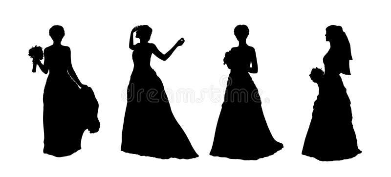 Las siluetas de la novia fijaron 1 ilustración del vector