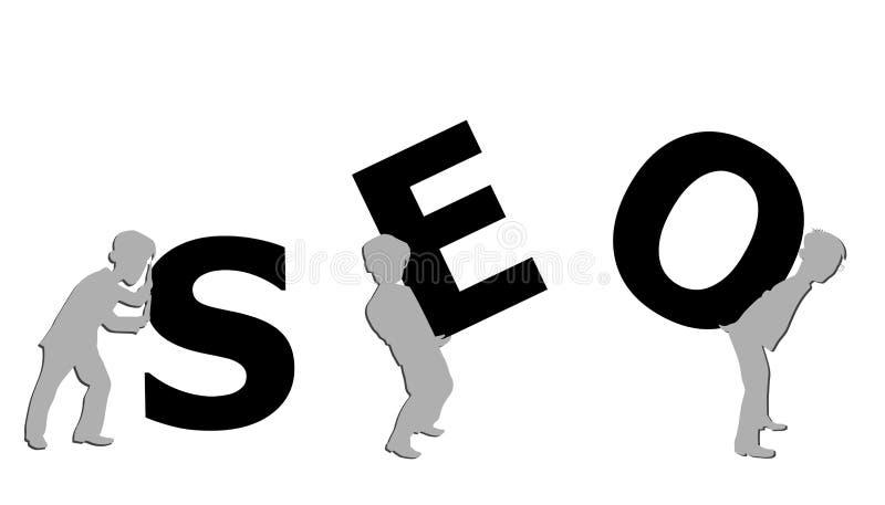 Las siluetas de pequeños hombres llevan a cabo la inscripción SEO Ilustración del vector ilustración del vector