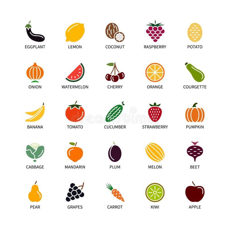 Las siluetas del vegano colorean la fruta orgánica de los elementos del diseño del análisis de las frutas de las verduras de los  imágenes de archivo libres de regalías