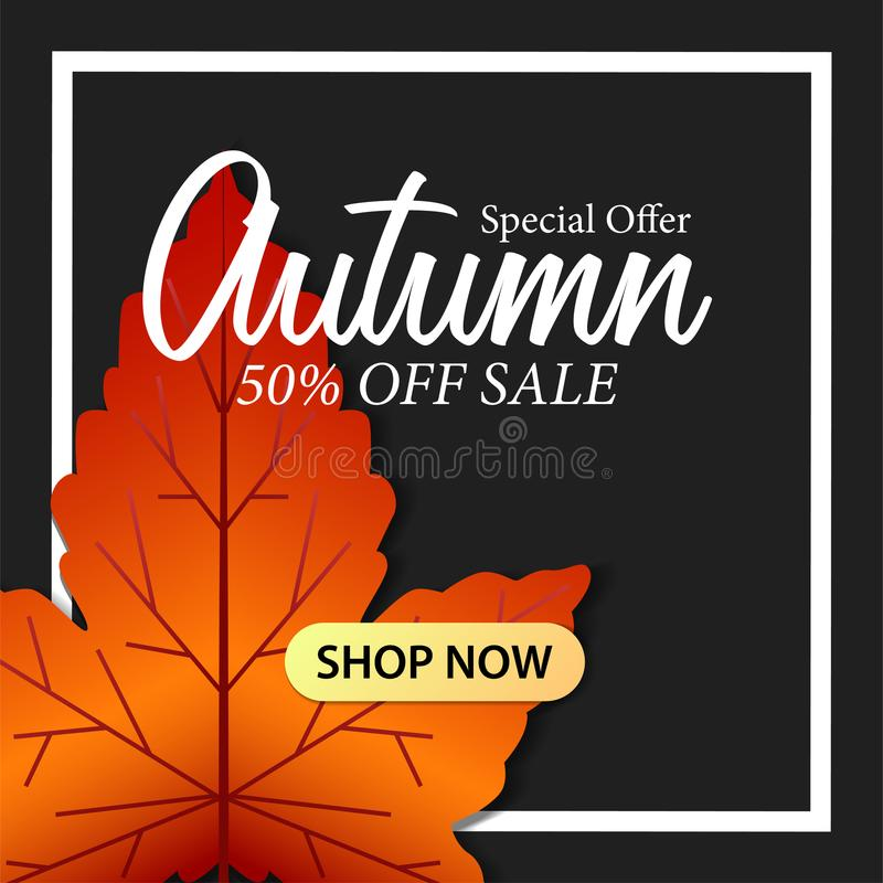 Las solas hojas de otoño del arce caen con el bacground negro plantilla de la oferta de la venta plantilla del descuento del cart stock de ilustración