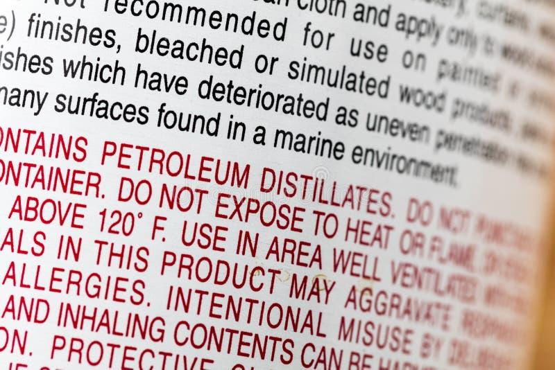 Las sustancias químicas de los destilados del petróleo etiquetan peligro del peligro imágenes de archivo libres de regalías