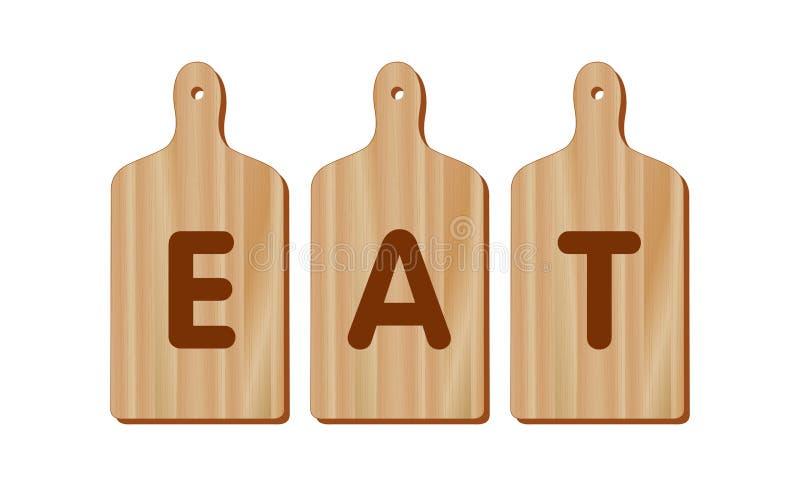 Las tablas de cortar, madera, forma de la paleta, COMEN stock de ilustración