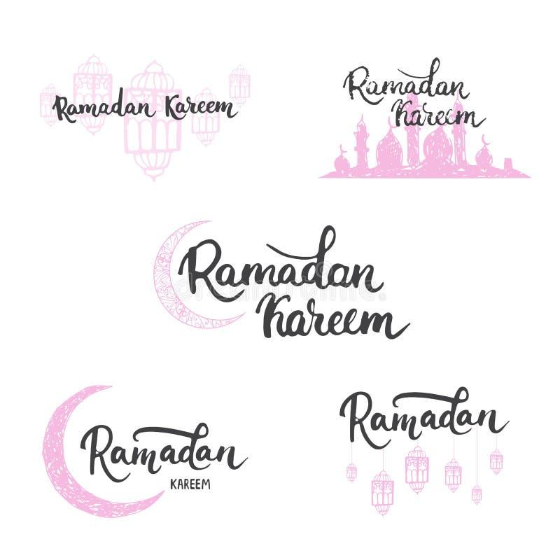 Las tarjetas de felicitación de Ramadan Kareem fijaron el fondo con las linternas, las letras y la mezquita Ejemplo del vector pa stock de ilustración