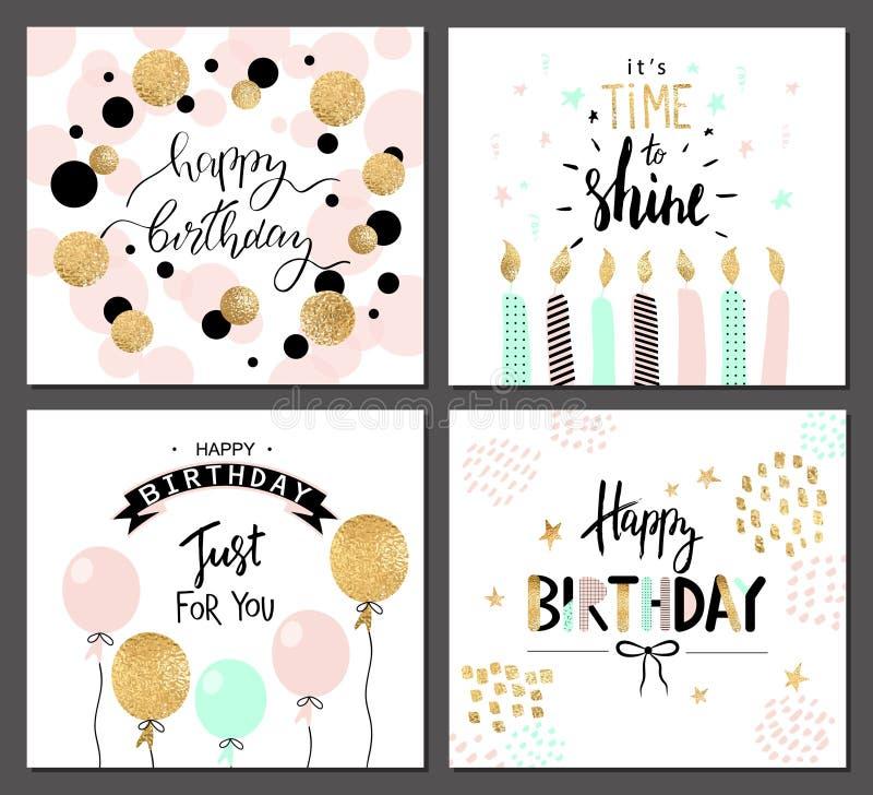 Las tarjetas de felicitación del feliz cumpleaños y las plantillas de la invitación del partido con las letras mandan un SMS Ilus ilustración del vector