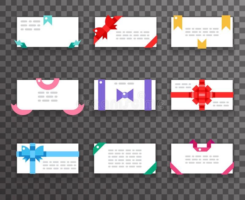 Las tarjetas de felicitación del sobre con los arcos para los iconos rojos de las cintas del regalo de los apps móviles del web f stock de ilustración