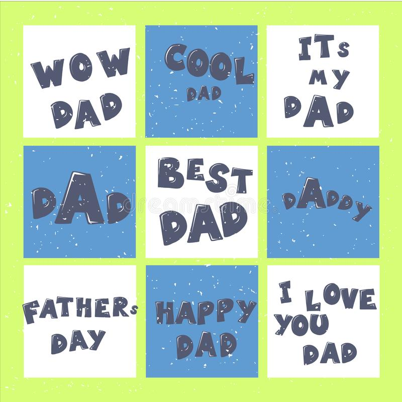 Las tarjetas de felicitación felices de la caligrafía de las letras de día del padre s fijaron o las impresiones Ejemplo para las libre illustration