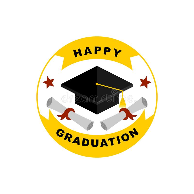 Las tarjetas de felicitación felices de la graduación diseñan stock de ilustración